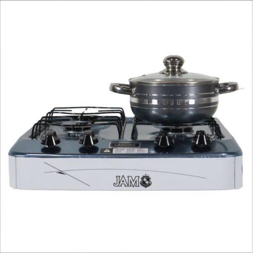 Cocina a gas JAM de mesa Laguna Blanca (Frente con olla) - Electrojet